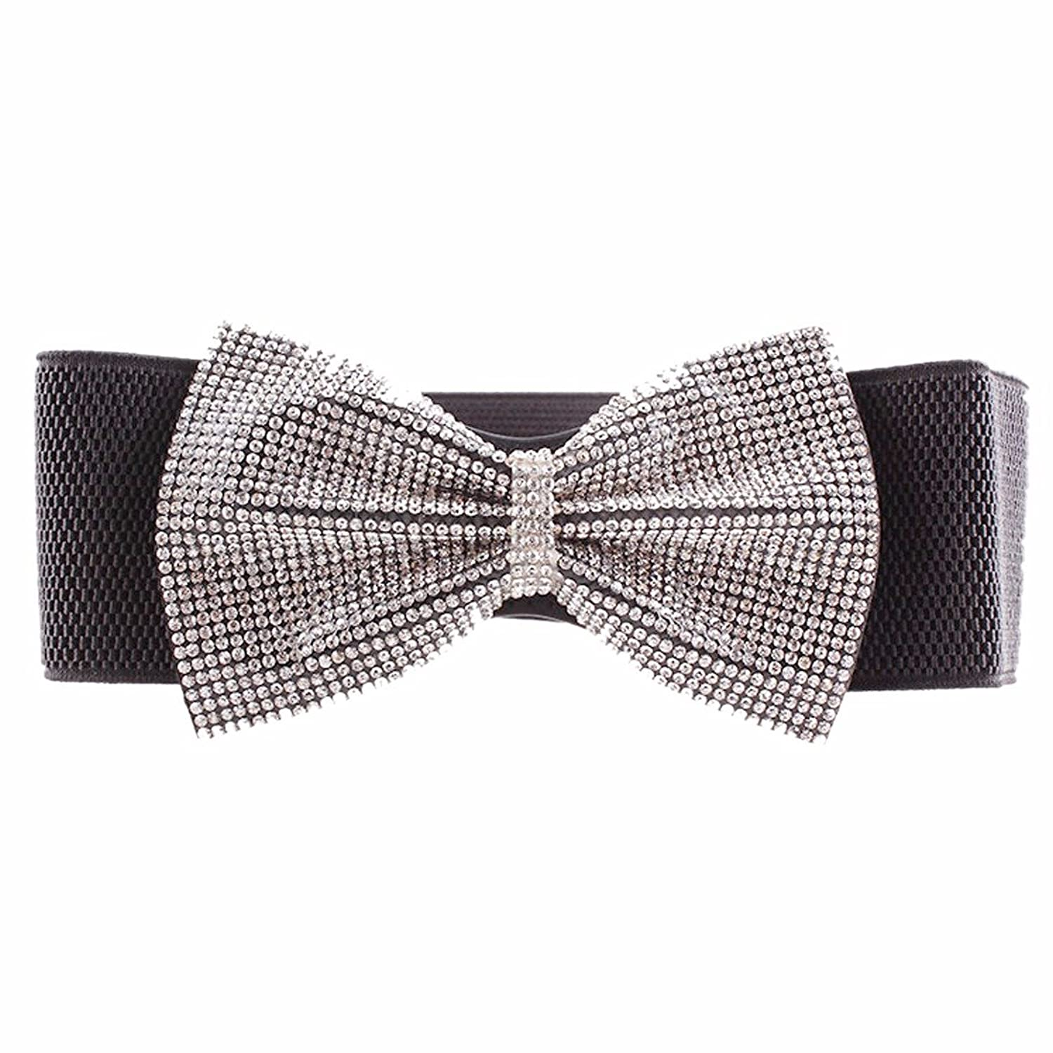 Black Womens Rhinestone Bowknot Wide Elastic Skinny Thin Bet Waist Waistband New