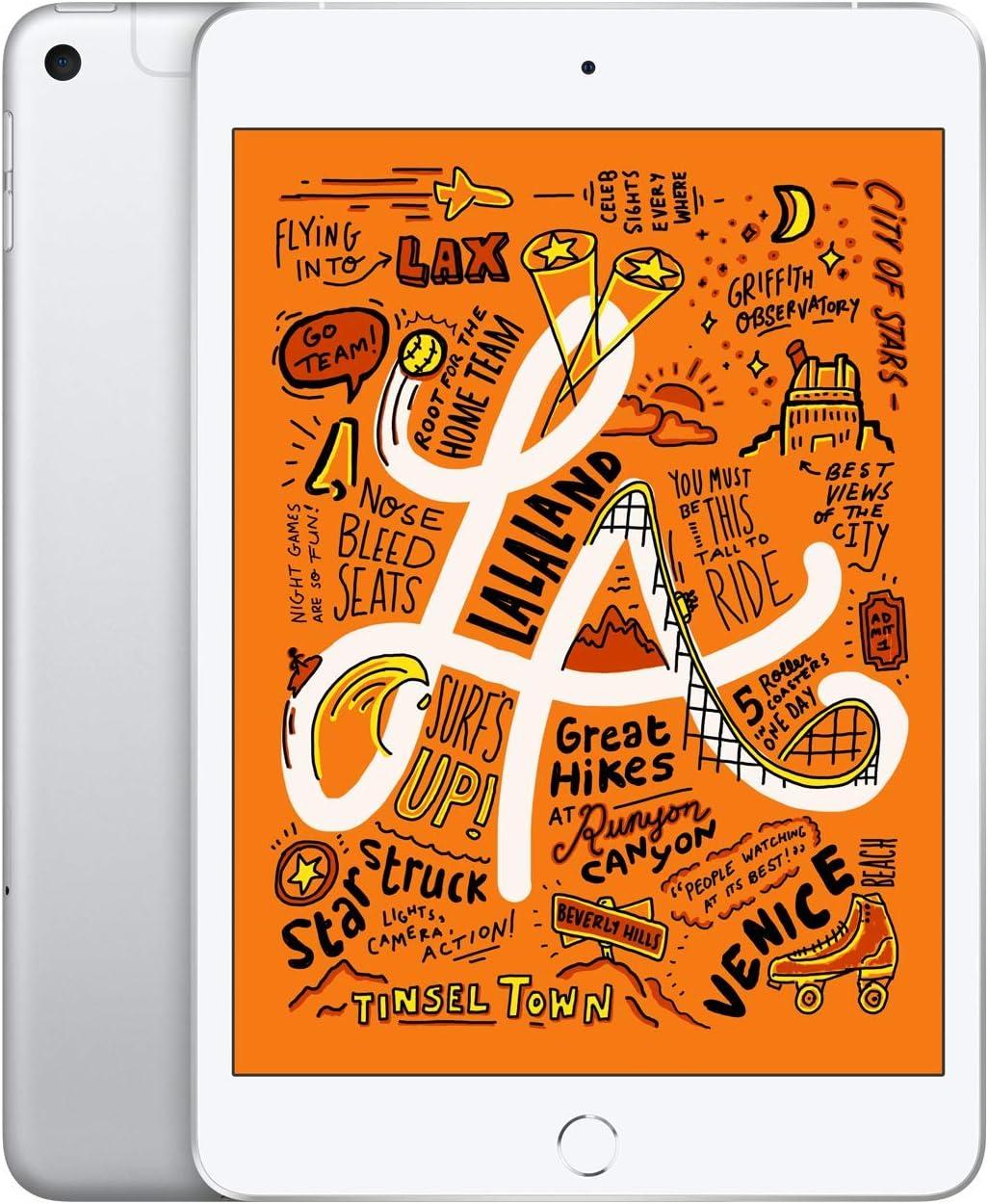 Apple iPad mini (Wi-Fi + Cellular, 64GB) - Silver (Latest Model)