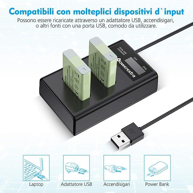 Powerextra Canonnb 13l 2x 1600 Mah 1x Dual Lcd Elektronik