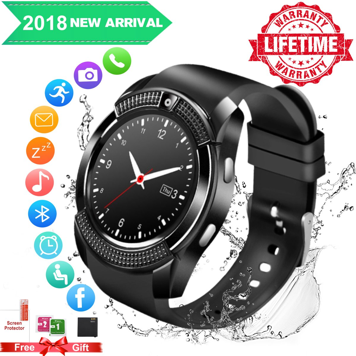 Smart Watch For Android Phones,Waterproof Smart Watches,Android Smartwatch Touchscreen With Camera,Bluetooth Watch Phone With SIM Card Slot Compatible Samsung IOS IPhone X 8 7 6 6S Plus 5 Men Women