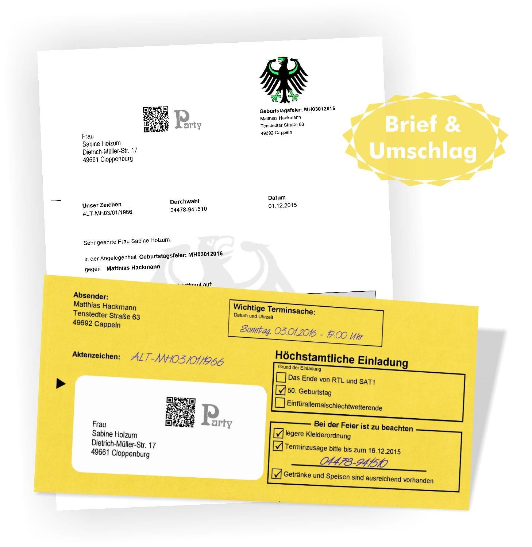 Geburtstagseinladungen Einladungsbriefe zum Geburtstag - Brief ...