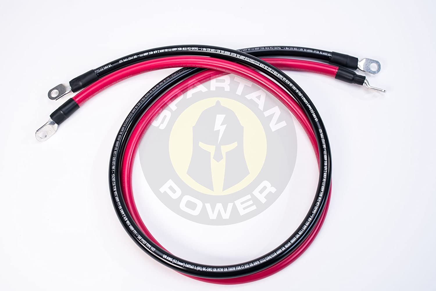 Made in America 15 ft 4//0 AWG Gauge Battery Cable Set by Spartan Power Many Lengths of Cables to Choose From
