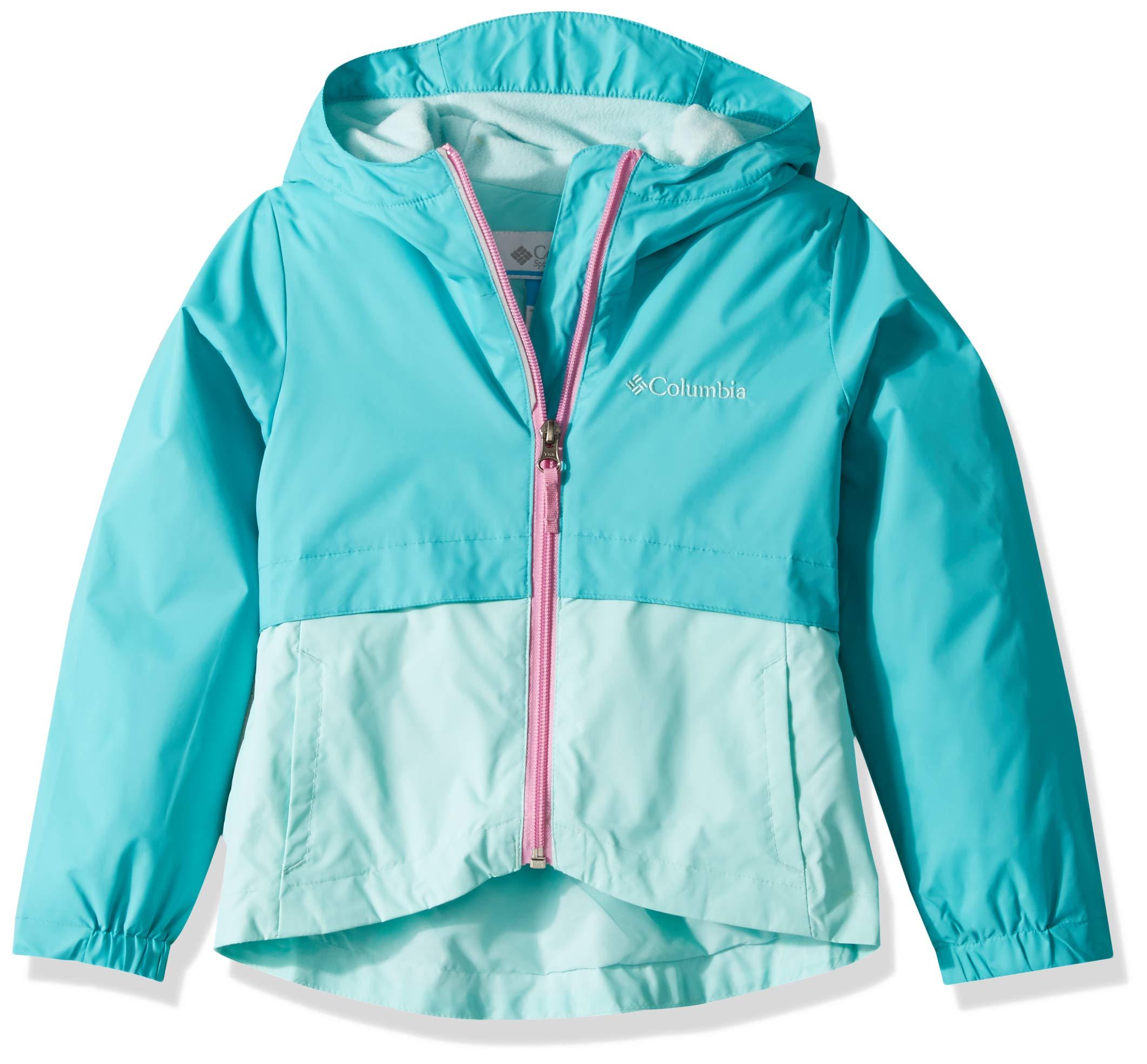 Columbia Girls' Big Rain-Zilla Jacket, Geyser/Gulf Stream, Large