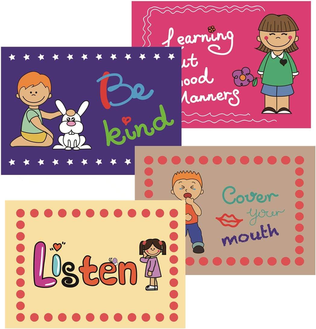 Sanzent 9 Good Habits Polite Class Rules /& affiches /éducatives pour apprendre les tout-petits tableaux dorganisation de classe mat/ériel p/édagogique anglais D/écoration de salle de classe