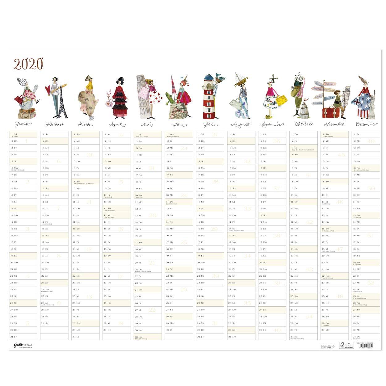 Großer Jahresplaner 2020 aus dem Grätz Verlag Bürokalender mit Illustrationen von Silke Leffler