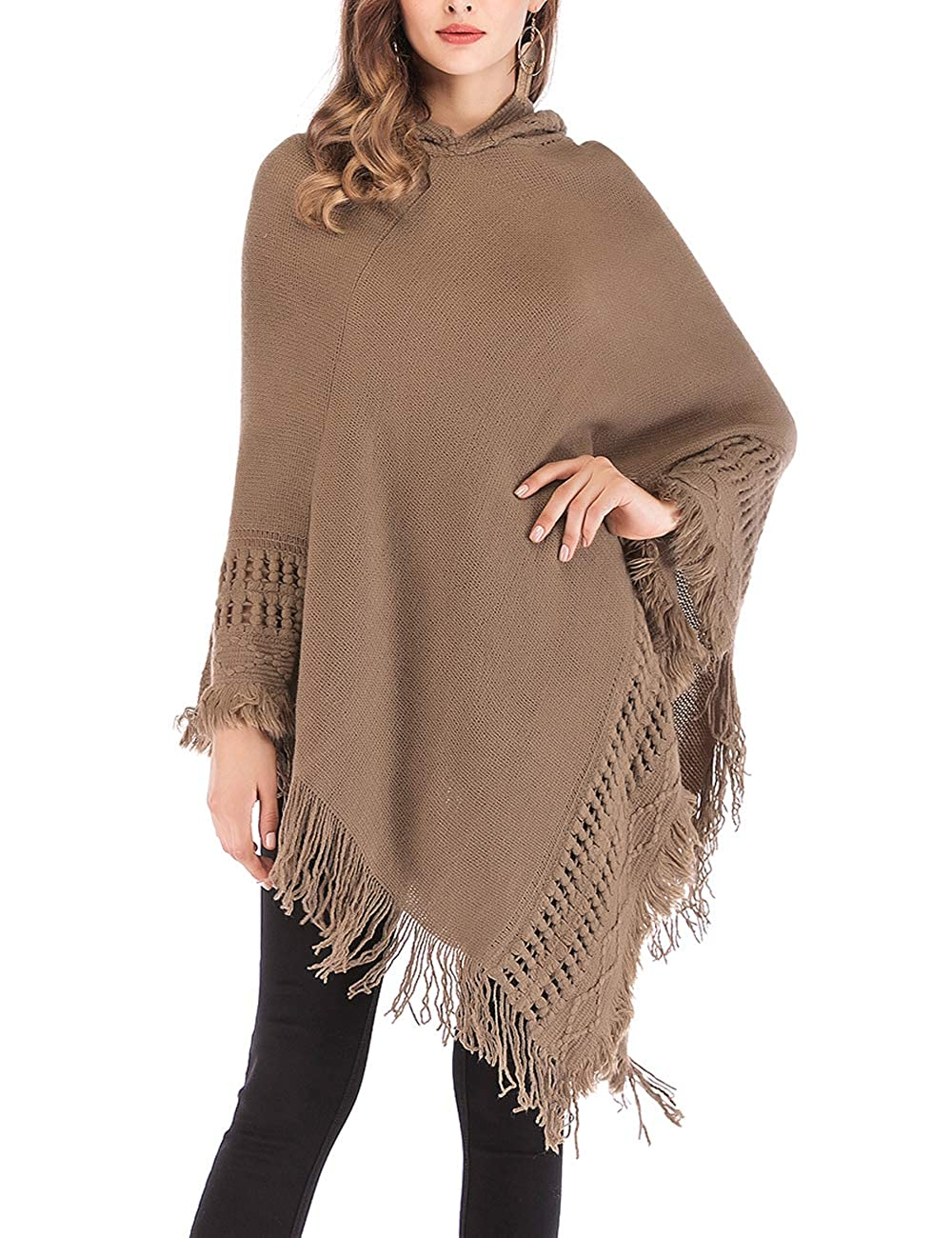 DODOING Women Hooded Cape Sweater Pullover Fringed Hem Crochet Knitting Patterns Poncho Cloak E43002033-CN-LXW001