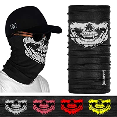 GAMPRO Outdoor Half Face Masks Seamless Tube Skull Sports Face Mask 2 Pcs half Dust-proof Windproof Motorcycle Bicycle Bike Face Mask Multifunctional for Hiking Camping Climbing Fishing Hunting: Automotive