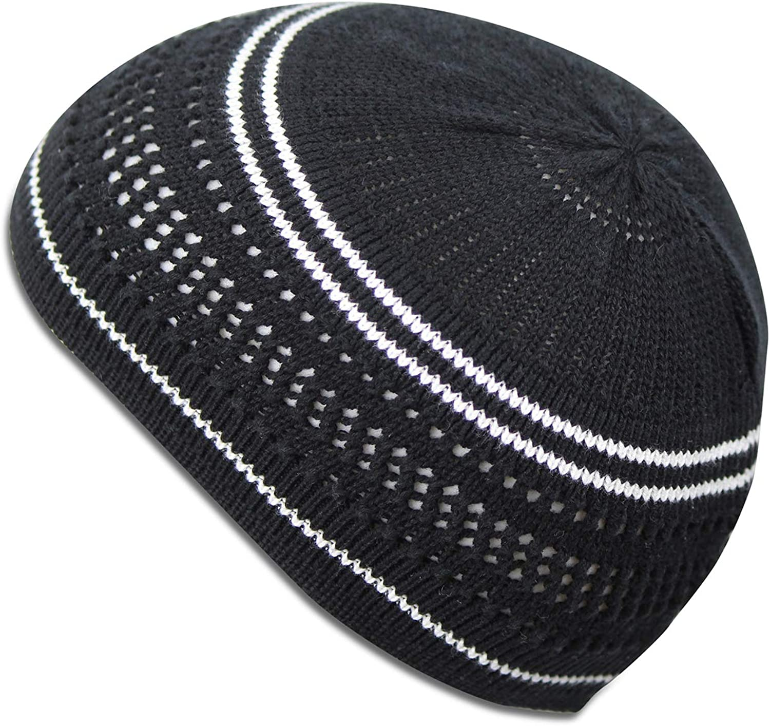 Muslim Bookmark Stretchy Elastic Beanie Kufi Skull Cap Hats Featuring Cool Designs and Stripes
