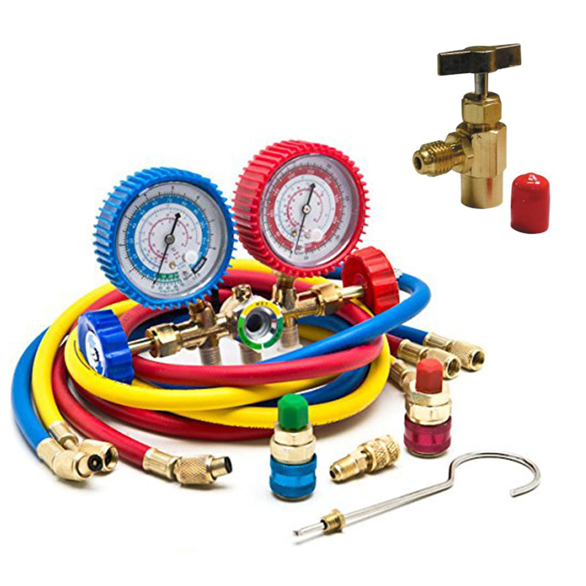 Goetland Diagnostic Manifold Gauge Kit for AC Refrigerant R12 R22 R502  HVAC, with R134a Adapter & Can Tap, 5 ft
