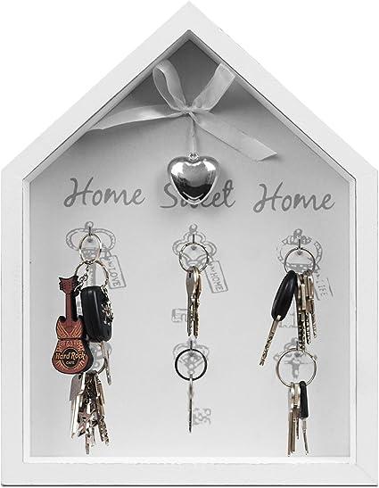 """Portachiavi da parete dimensioni 25/x 32,5/x 4/cm colore bianco motivo /""""Home Sweet Home/"""" con 6/ganci"""