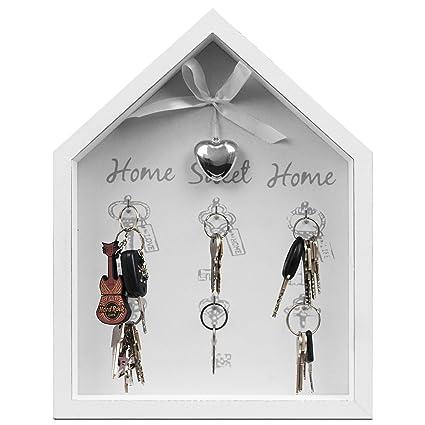 Home Sweet Home - Tablero para colgar las llaves tipo caja para pared, con texto y 6 ganchos, 25 x 32,5, 5 x 4 cm, color blanco