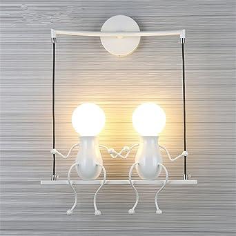 LED Moderna Lámpara de Pared,LED Lámpara。Pasillo para niños Escalera de pared Dormitorio creativo Faros junto a la cama Lámpara de mesa creativa Sala de estar Luz de noche, Doble cabeza blanca: Amazon.es: