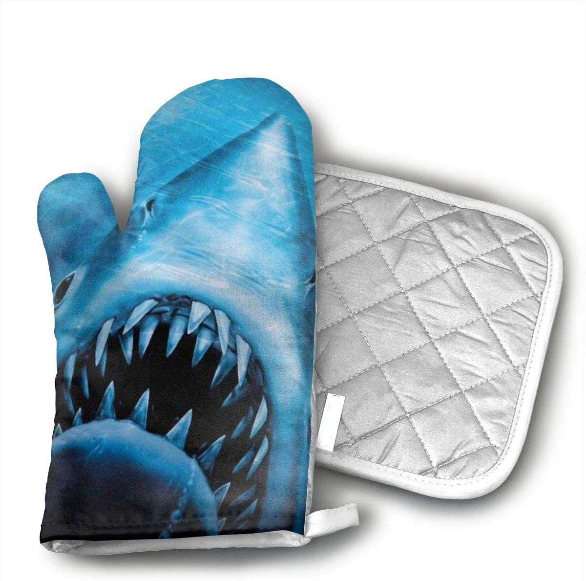 Wiqo9 Jaws of Ocean Shark Oven Mitts and Pot Holders Kitchen Mitten Cooking Gloves,Cooking, Baking, BBQ.