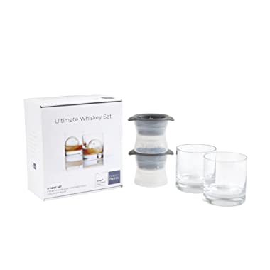 Schott Zwiesel Ultimate Whiskey with 2 Double Old Fashioned Bar/Cocktail Glasses Paired with 2 Large Sphere Ice Molds, Clear