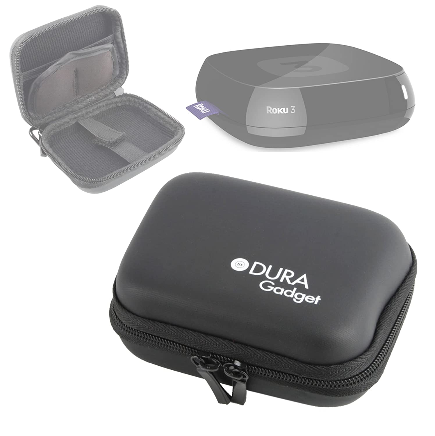 DURAGADGET Premium Black Shell Carry Case with Belt Clip - Suitable for The Roku 3 TV Streaming Player