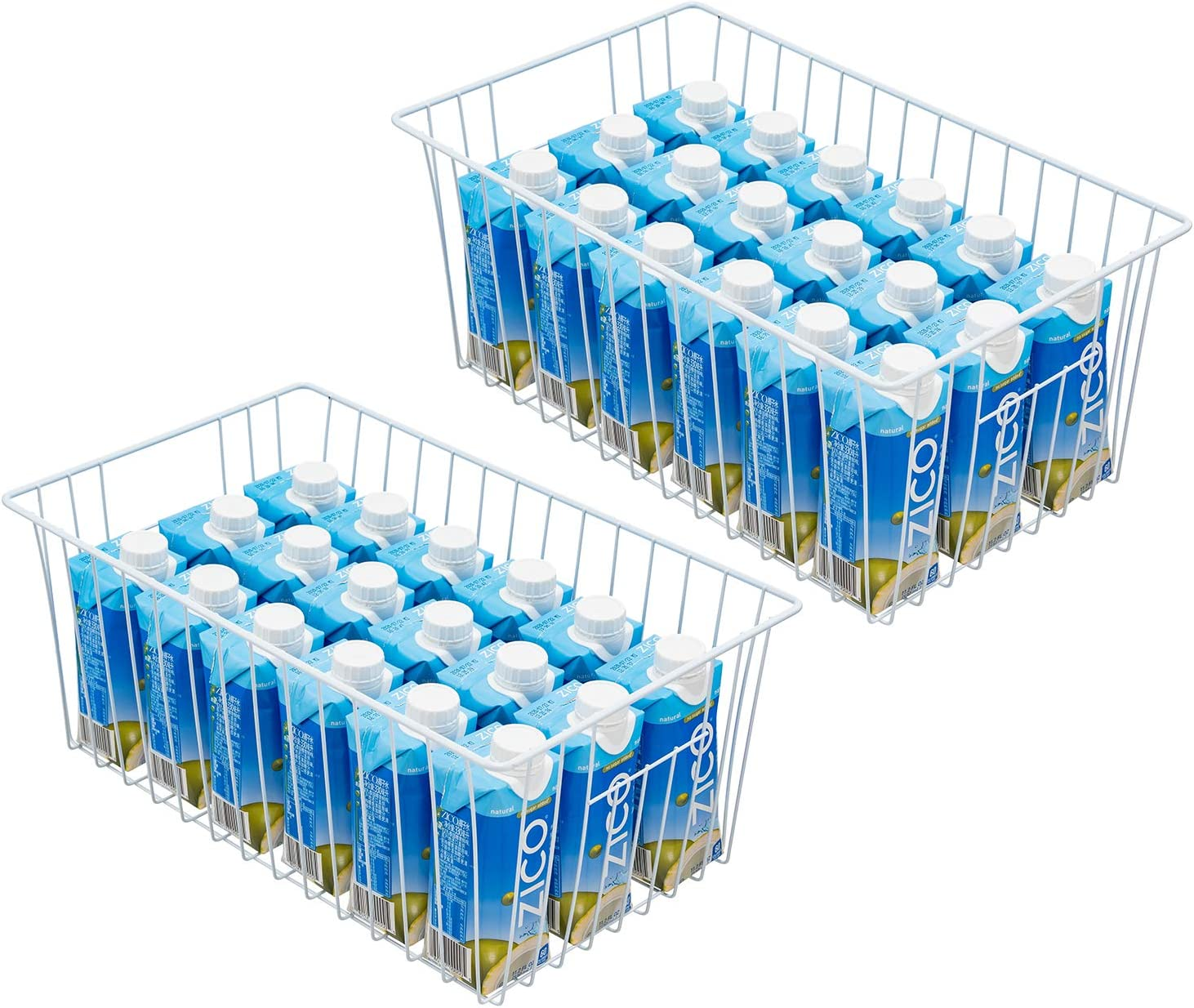 16inch Freezer Wire Storage Organizer Baskets, Household Refrigerator Bins with Built-in Handles for Cabinet, Pantry, Closet, Bedroom (2)