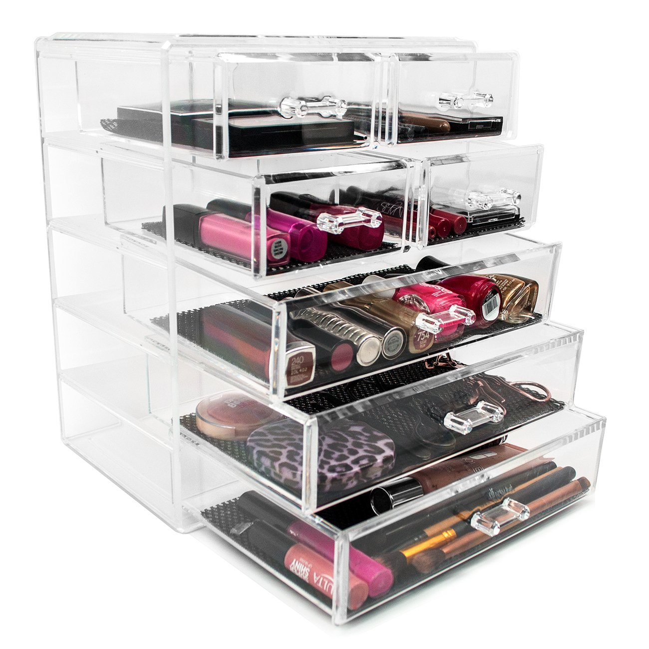 sorbus acrylic cosmetics makeup and jewelry storage case display  large and  small drawers space saving stylish acrylic bathroom: plastic makeup organizer put bathroom