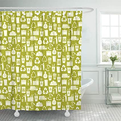 Emvency Shower Curtain Set Waterproof Adjustable Polyester Fabric Green Recycle Recycling Garbage Waste Utilization Clean Arrow