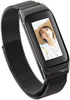 Smart Metal Bracelet, Health Tracker with Large Color Screen HR GPS Bluetooth Calorie Counter Sleep Monitoring Pedometer Riding Running, for Men and Women