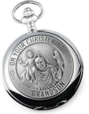 Grandson Christening St Christopher Pewter Feature Pocket Watch, Gift From Grandparents