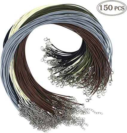 15 Colors 150 Pcs Bulk Necklace Cord?Multicolor 1.5mm Waxed Cotton Necklace Chain with Lobster Claw Clasp for Pendants Bracelet Necklace and Jewelry Making