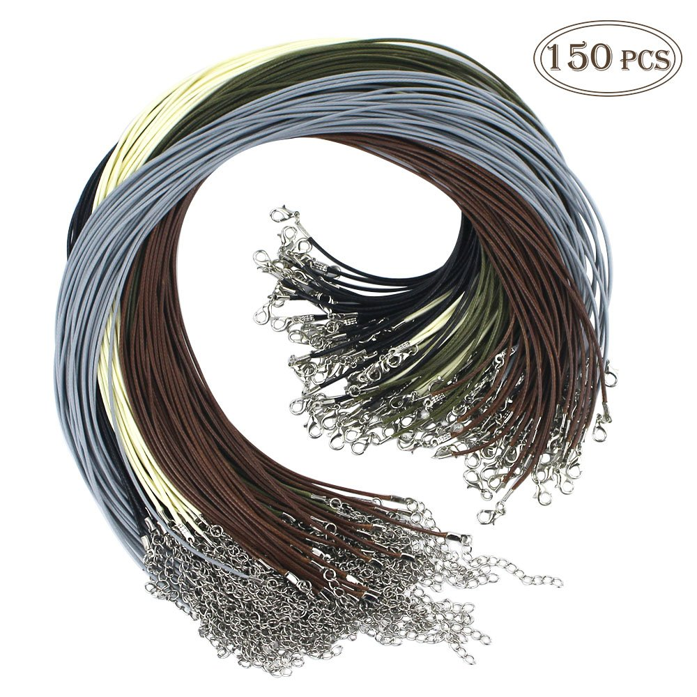 Outuxed 150pcs Bulk Necklace Cord, Multicolor 1.5mm Waxed Cotton Necklace Chain with Lobster Claw Clasp for Pendants Bracelet Necklace and Jewelry Making (5 Colors) by OUTUXED