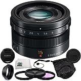 Panasonic LUMIX G Leica DG Summilux 15mm f/1.7 ASPH Micro Four Thirds Lens Mount Wide-Angle Camera Lens (Black) + 5 Piece Essentials Accessory Kit
