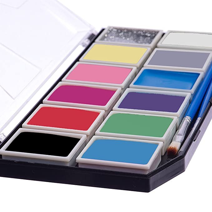 Kinderschminke Set - Profi Palette mit 11 Sicheren & Ungiftigen Farben, 1 Glitzer, 3 Pinsel, 18 Schablonen und 2 Schwämme, (X