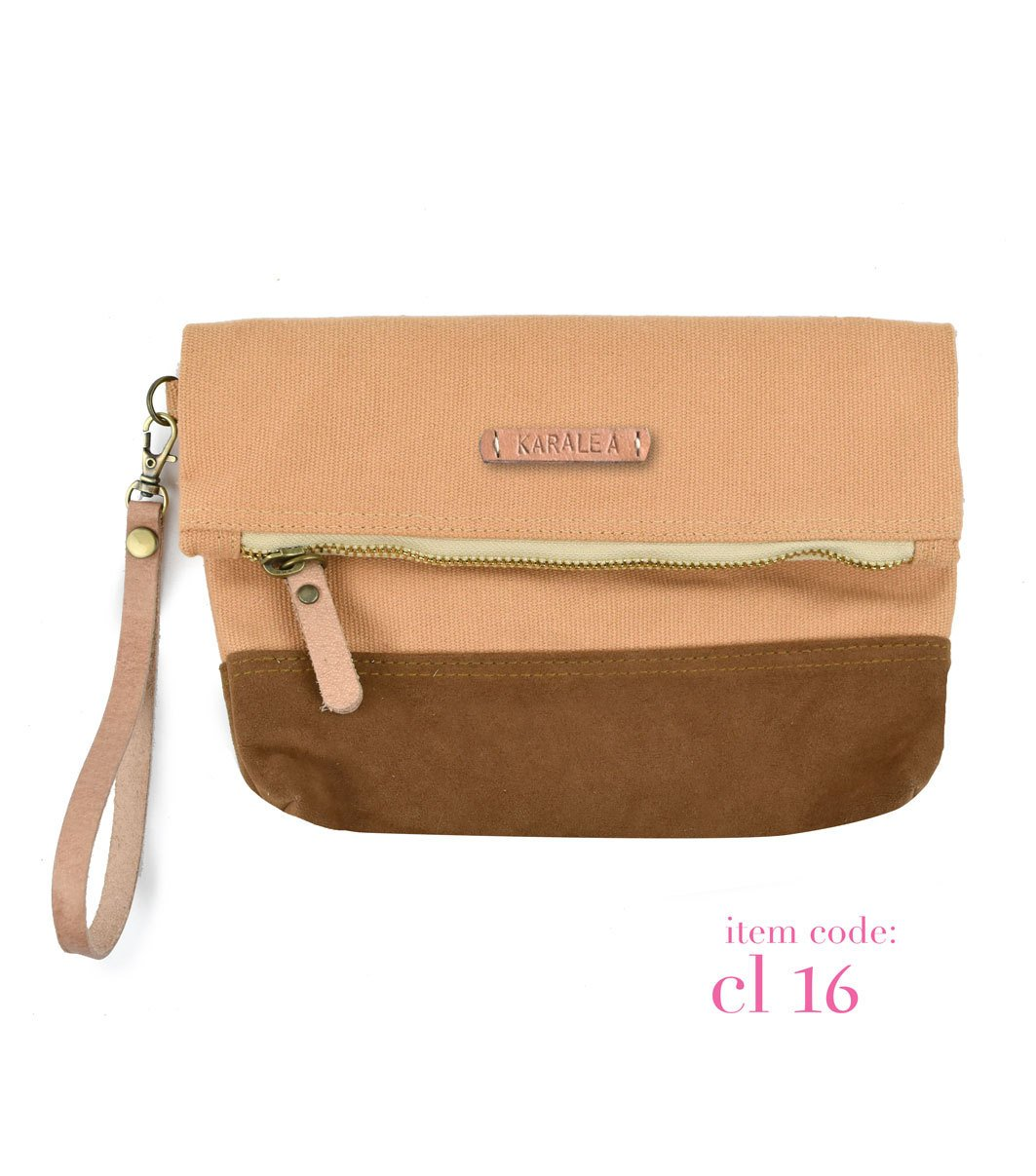 Borann Women Caramel Monogram Canvas Clutch Handbag Purse Bridesmaid Gift Personalized Your Name