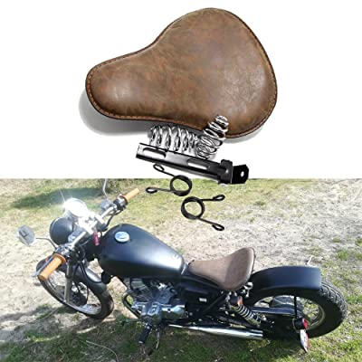 Retro Brown Motorcycle Soft Leather Seat Spring Solo Bracket for Harley Chopper Bobber: Automotive