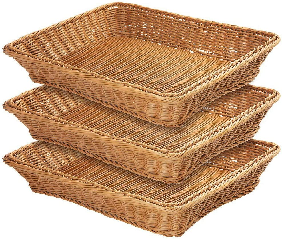 "17.7"" Poly-Wicker Bread Basket,Woven Tabletop Food Fruit Vegetables Serving Basket, Restaurant Serving,Brown (3 PACKS)"