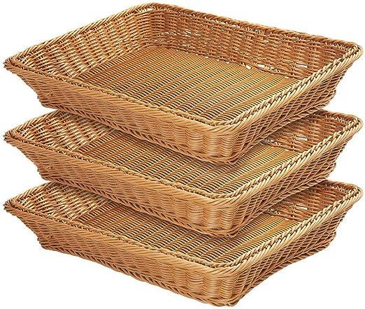 Amazon.com: Cesta de pan de mimbre natural, de tela larga ...