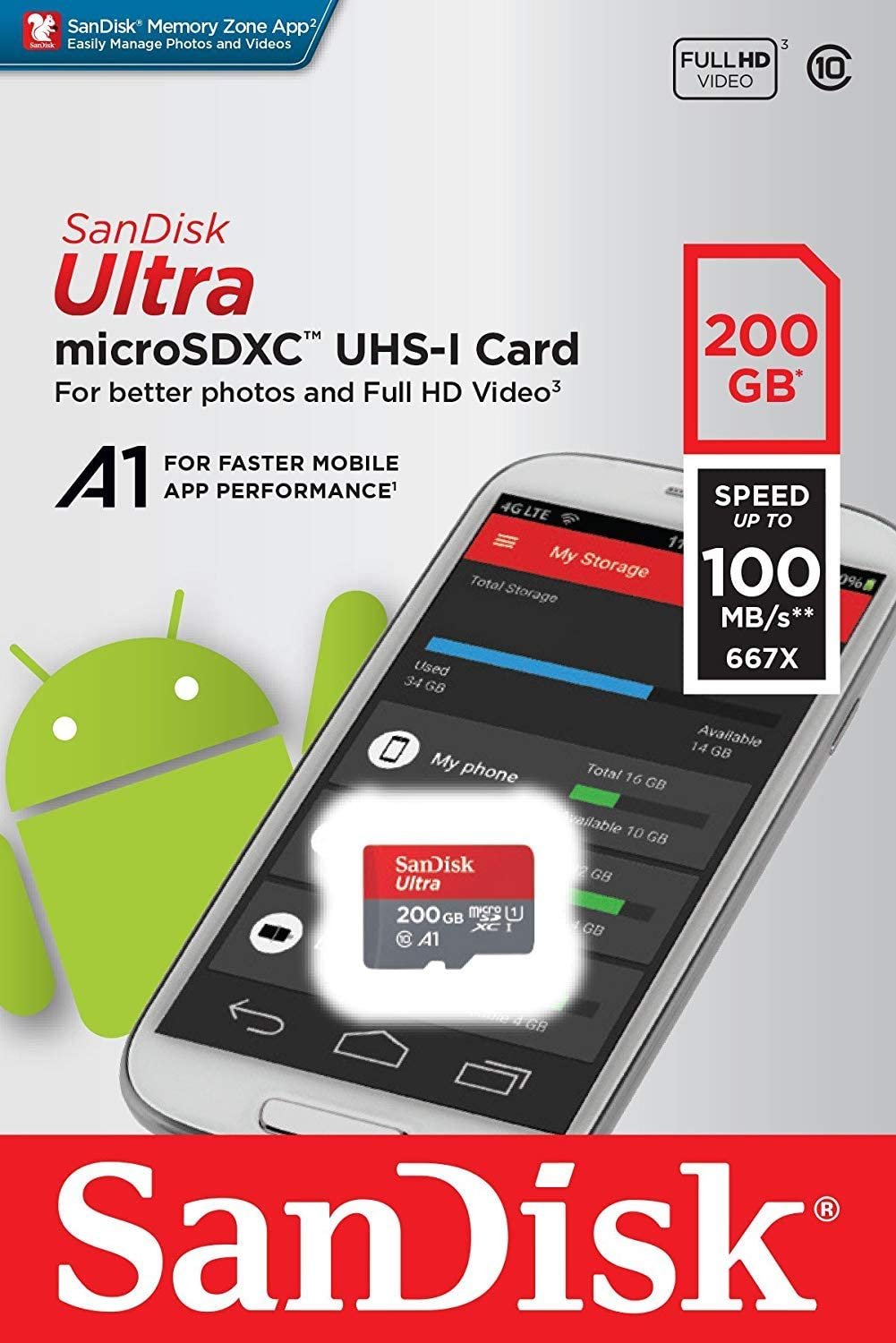 SanDisk Ultra 200GB MicroSDXC Verified for Asus ZE550KL by SanFlash 100MBs A1 U1 C10 Works with SanDisk