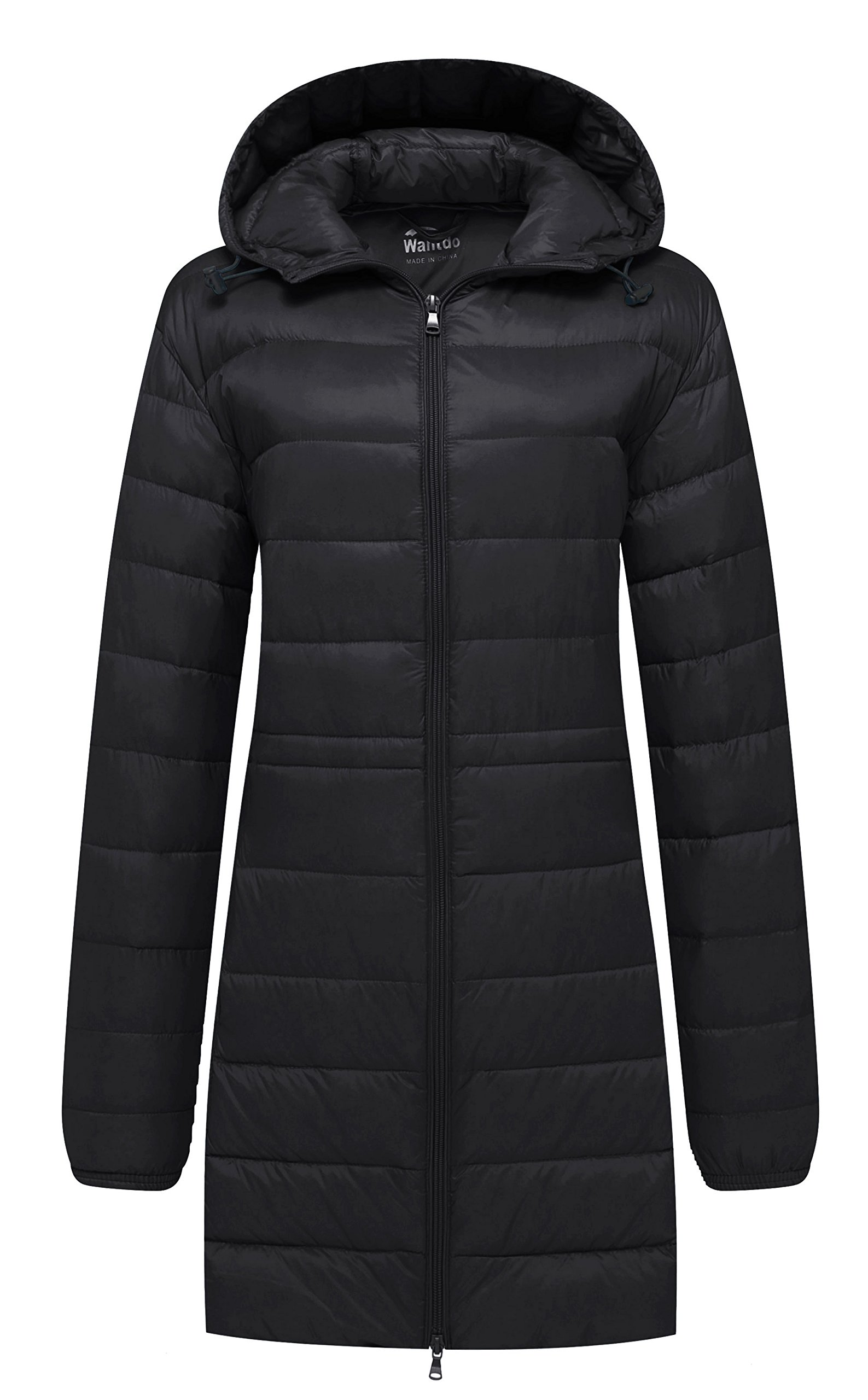 Wantdo Women's Hooded Packable Ultra Light Weight Down Coat, Black, Large