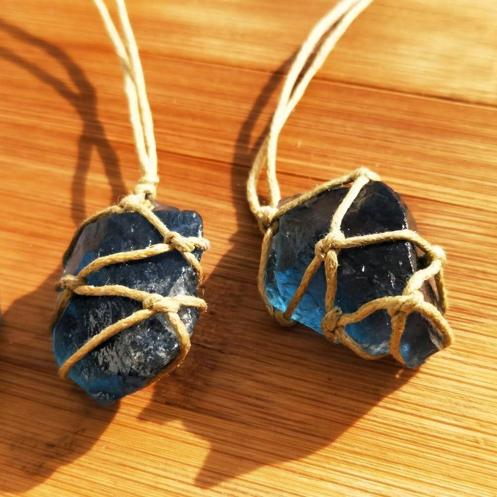AITELEI Colgante de cristal de fluorita natural Reiki Chakra Meditación Terapia de piedras preciosas Protección de cuarzo Fluorita Punto de piedra curativa facetada Collar Collar hecho a mano