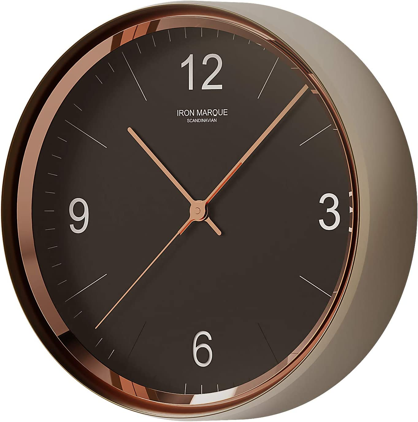 Iron Marque Silent Décor Wall Clock Battery Operated Non Ticking Modern Elegant Quiet Clock for Home Office (Black, 9 inch)
