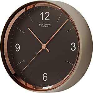 Iron Marque Silent Décor Wall Clock Battery Operated Non Ticking Modern Elegant Quiet Clock for Home Office (Black, 13 inch)