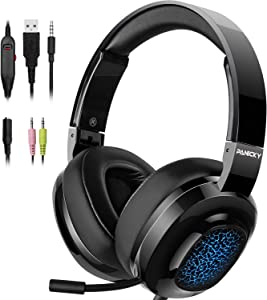 PANICKY Gaming Headset PS4, Xbox one Headset with mic, Headphone with LED Light/Noise Canceling Microphone/Soft Memory Earmuffs/Surround Sound. Compatible with PC, PS4, Xbox One, Nintendo Switch