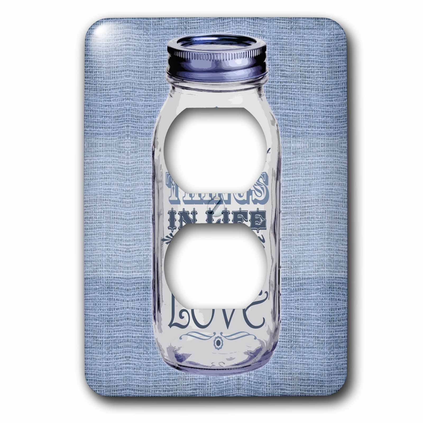 3dRose lsp_128509_6 Mason Jar on Burlap Print Blue The Best Things in Life Are Made with Love Gifts for The Cook 2 Plug Outlet Cover