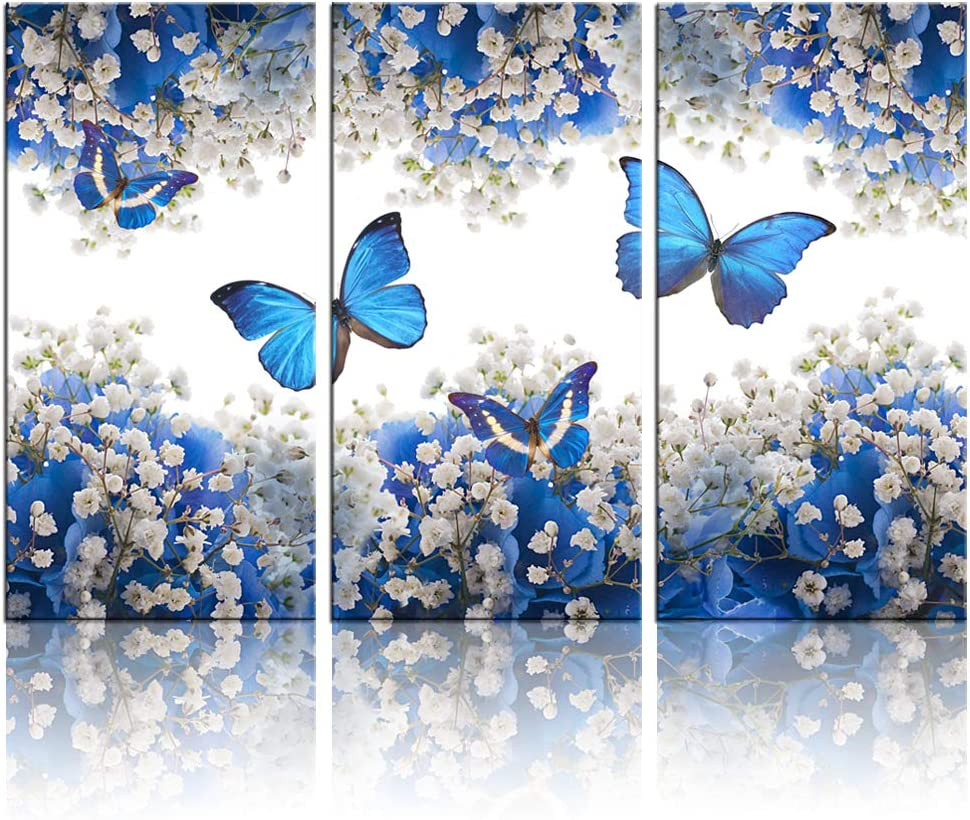 Amazon Com Biuteawal 3 Panel Canvas Print Blue Butterfly Wall Art Flower Painting On Canvas Contemporary Artwork For Home Living Room Bedroom Wall Decor Ready To Hang Posters Prints