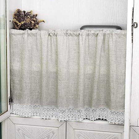 choicehot - Cortinas de algodón y lino con encaje, estilo rústico, estilo vintage, elegante, 1 unidad, 60 x 120 cm: Amazon.es: Hogar