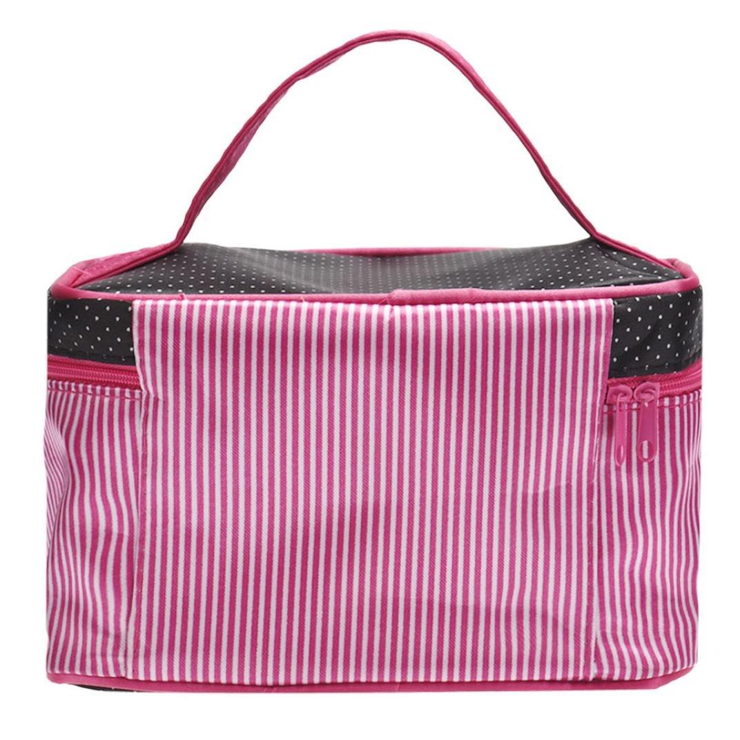Rose rot Sunnywill Fashion Square Bow Streifen Kosmetische Beutel Gro/ße Volumen Wasserdichte Verfassungs Beutel f/ür Frauen M/ädchen Damen