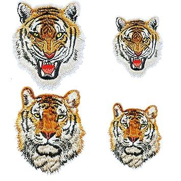 ... Roaring Tiger personalidad Super Cool DIY hierro en parches de animales Animal gamuza de pegatinas Pegatinas para camiseta para hombre Jeans Mochilas: ...