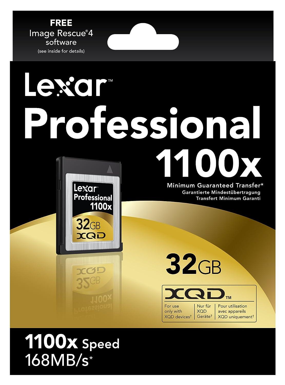 Lexar Professional 1100X XQD Card - Tarjeta de Memoria xD de 32 GB, Negro