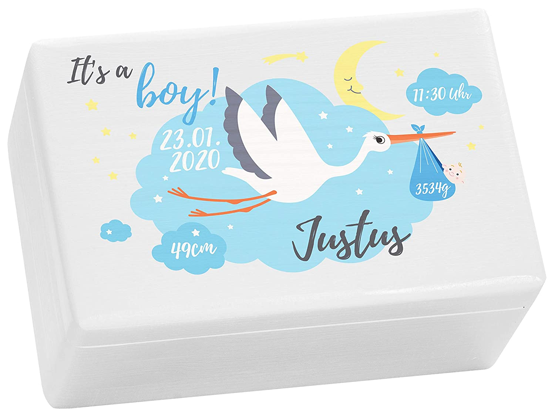 Holzkiste Wei/ß Its a Boy Geschenk zur Geburt Junge 30x20x14 cm LAUBLUST Erinnerungsbox Baby Personalisiert ca