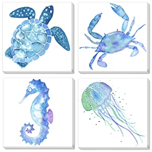 "Texture of Dreams Watercolor Sea Animals Painting on Canvas Wall Art, Sea Turtle Seahorse Crab Jellyfish, Blue Ocean Theme Baby Nursery Boy Room Wall Decor, 4 Pack (10"" x 10"")"