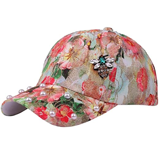 3126c79278d0f6 Highpot Fashion Women Floral Print Pearl Bling Baseball Cap Adjustable Sun  Hat (Orange)