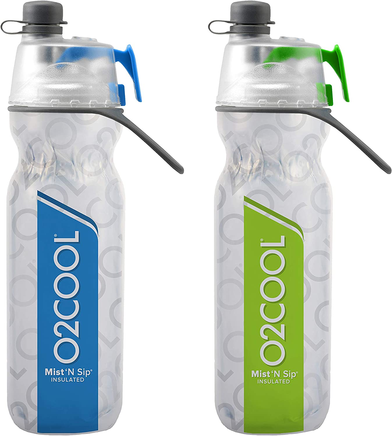 O2COOL Elite ArcticSqueeze Insulated Mist N Sip Squeeze Bottle 20 oz, Blue Green, 2 Packs