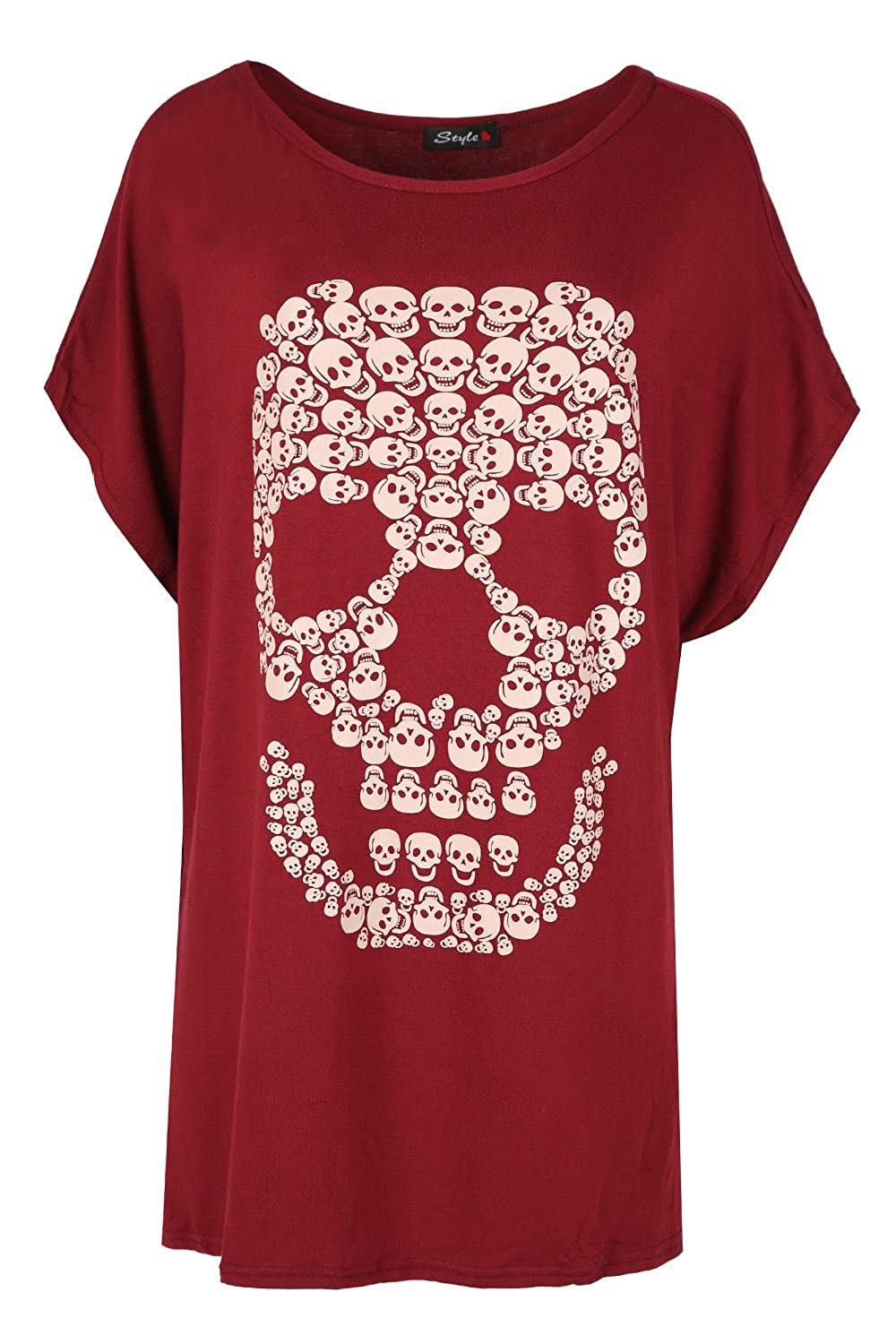 Oops Outlet Womens Halloween Party Baggy Lagenlook Top Ladies Spooky Skull Batwing Scary Loose Fit T Shirt BE JEALOUS