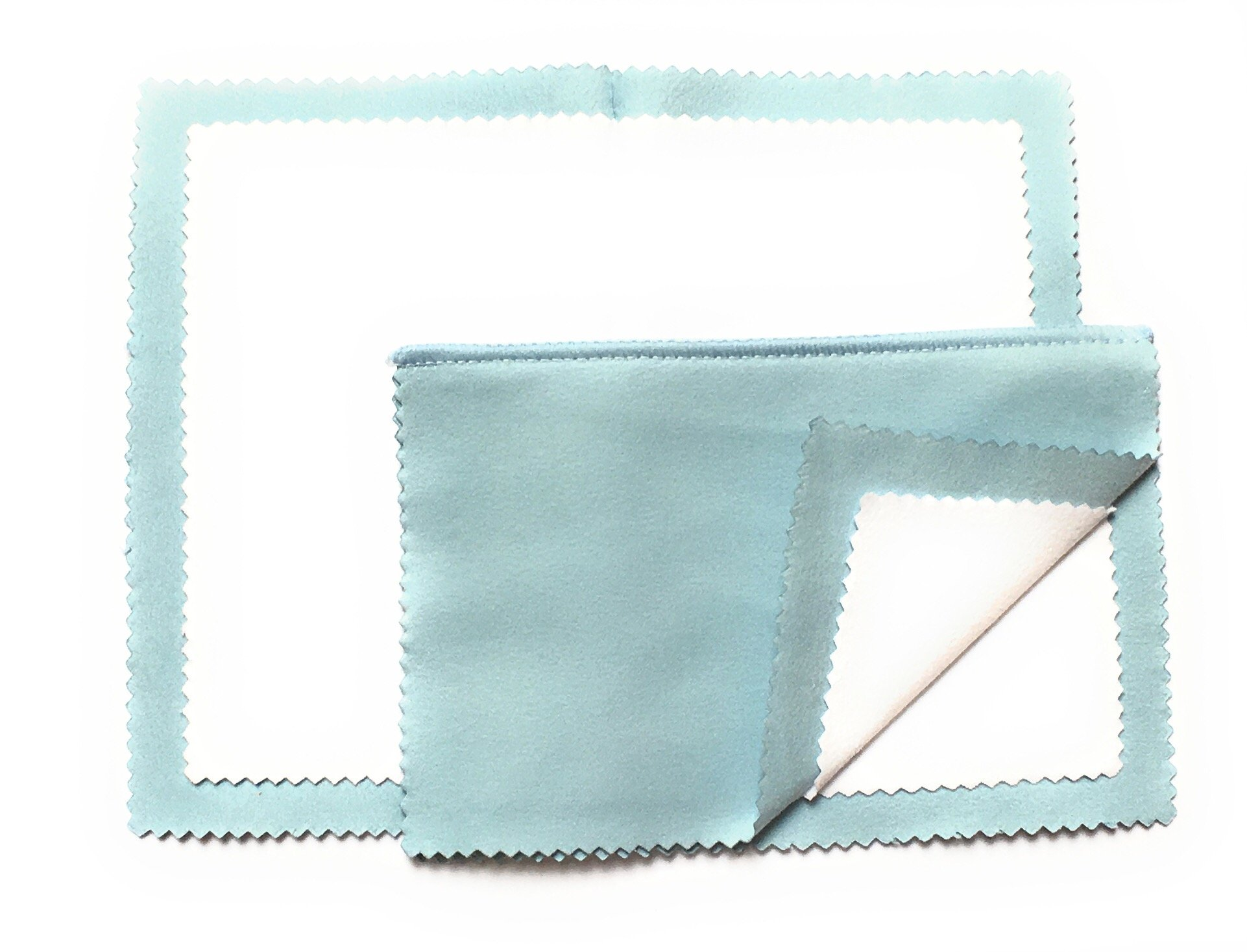 BOSTON EMPORIUM Jewelry Polishing Cloth - 4 Ply Travel Size Microfiber Cloth for Cleaning Buffing Tarnish Removal and Polishing Gold and Silver Jewelry (Light Blue 2 Pk)